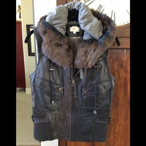 Nordstrom JUNE leather and real fur vest